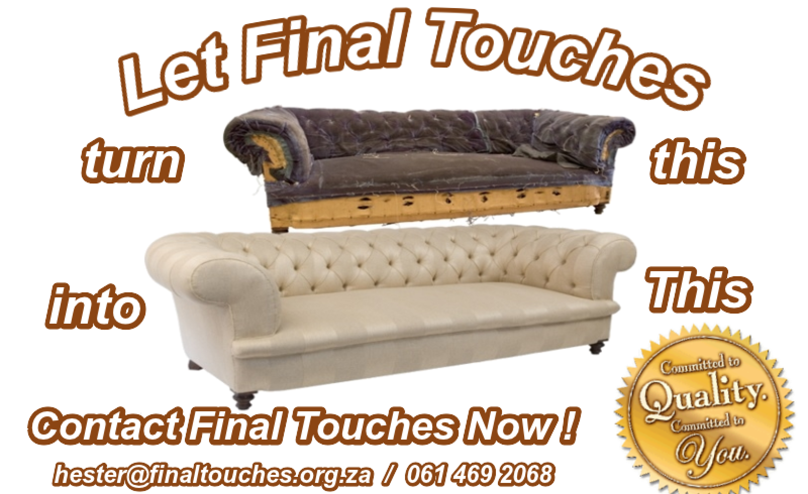 www.finaltouches.org.za,upholstery special